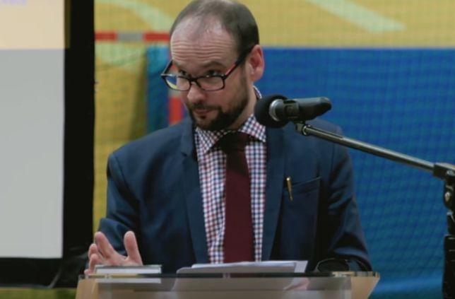 Artur Górecki w trakcie wykładu zorganizowanego przez Ordo Iuris