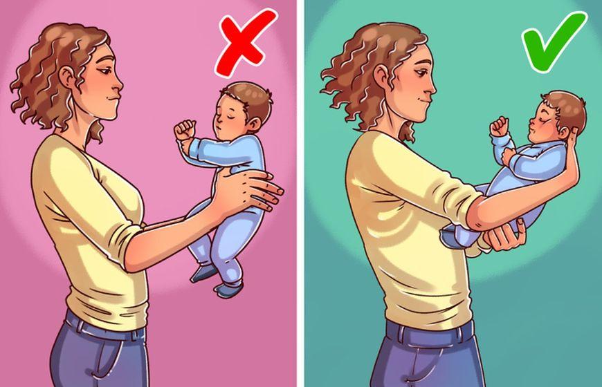 Zawsze podtrzymuj główkę małego dziecka