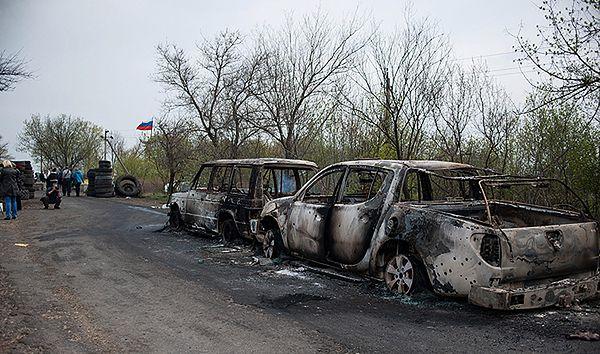 Miejsce ataku w pobliżu Słowiańska