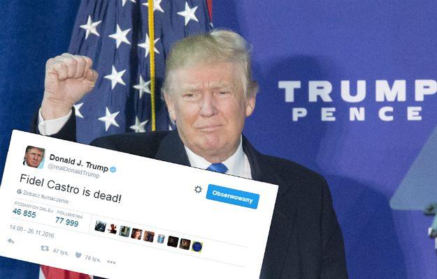 Donald Trump zamieszcza kontrowersyjny wpis na Twitterze po śmierci Fidela Castro