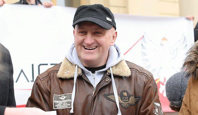 Marian Kowalski podczas konferencji prasowej w Lublinie.