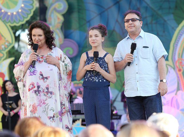 Anna Dymna, Bronisława Zamachowska i jej tata na Festiwalu Zaczarowanej Piosenki, czerwiec 2017 r.