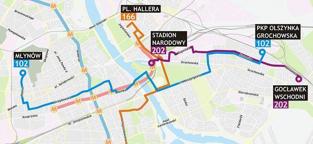 Nowe linie autobusowe i pętla przy Stadionie Narodowym [MAPY]
