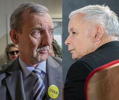 Szef ZNP Sławomir Broniarz i szef PiS Jarosław Kaczyński