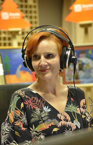 Agnieszka Kunikowska w studiu Programu I Polskiego Radia