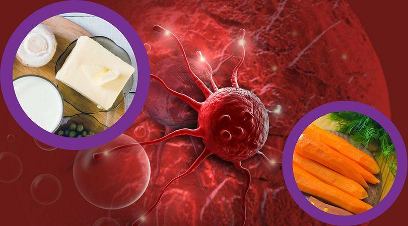 Komórka nowotworowa oraz produkty zasobne w witaminy, które zmniejszają ryzyko zachorowania na raka