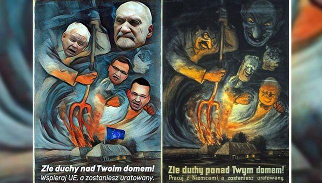 Skandaliczna grafika na Twitterze posła PO. Wzorowana na nazistowskim plakacie