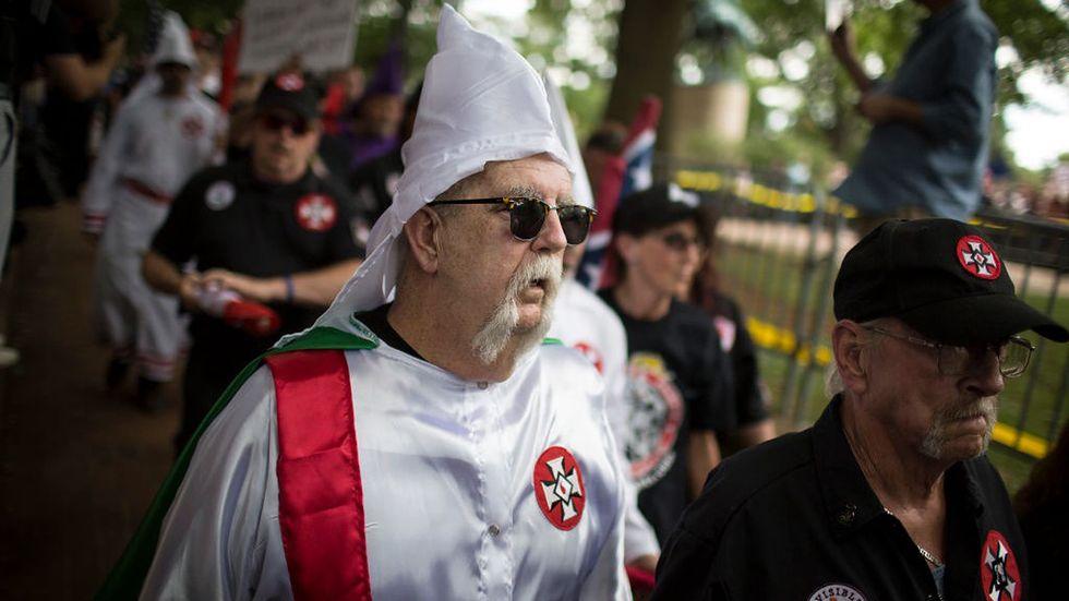 8 lipca 2017, Charlottesville, Virginia. Marsz członków Ku Klux Klanu