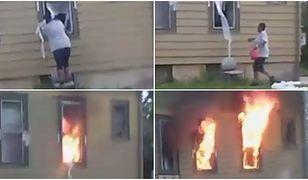 Przerażające nagranie. Kobieta podpala dom, nikt nie reaguje
