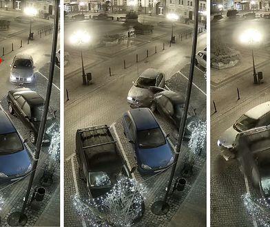 """Kamery miejskiego monitoringu w Chojnicach uwieczniły """"rajd"""" 21-latka"""