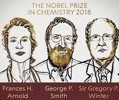 Laureaci nagrody Nobla z chemii 2018. Od lewej Frances Arnold, George Smith, Gregory Winter