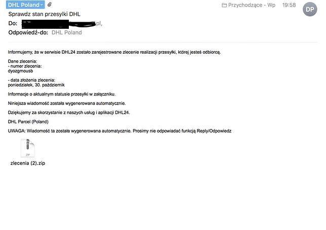 Tak wygląda mail od oszustów