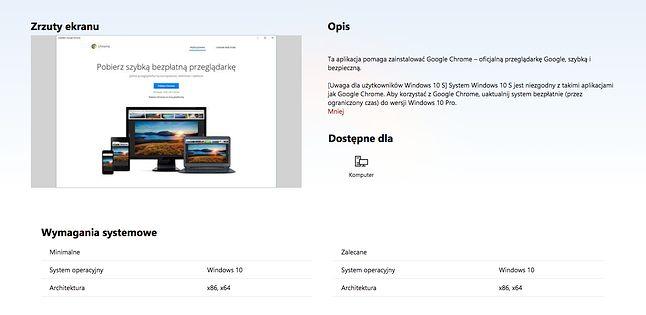 Instalator Chrome dostępny jest w Microsoft Store.