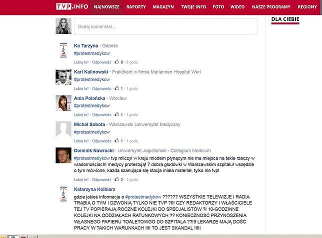 Medycy masowo komentują materiały TVP Info.