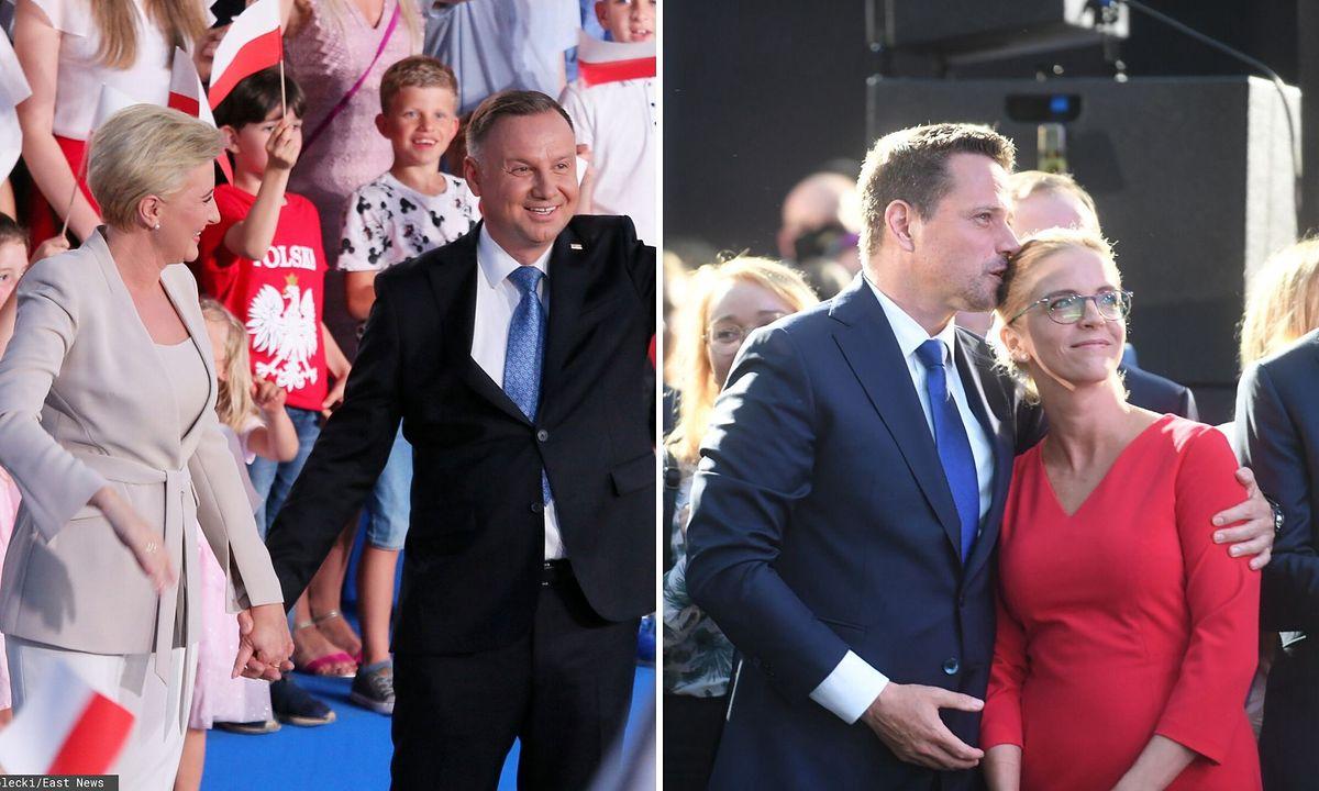 Andrzej Duda z żoną Agatą Kornhauser-Dudą oraz Rafał Trzaskowski z żoną Małgorzatą Trzaskowską