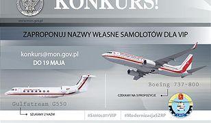 """MON ogłasza konkurs na nazwy samolotów dla VIP-ów. Propozycje: """"sfinansowano z 500+"""""""