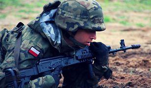 Żołnierz OT podczas ćwiczeń z taktyki