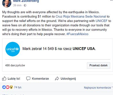 Facebook przekaże milion dolarów na pomoc ofiarom trzęsienia ziemi w Meksyku. Wspólnie z UNICEF organizują też zbiórkę pieniędzy