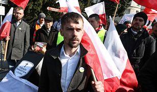 AGROunia  (na fot. jej lider Michał Kołodziejczak) zawarła sojusz ze środowiskami narodowców. W sobotę wspólna manifestacja.
