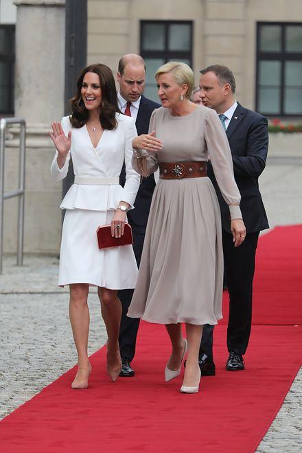 Agata Kornhauser-Duda (z prawej) towarzyszy mężowi podczas wizyty brytyjskiej pary książęcej