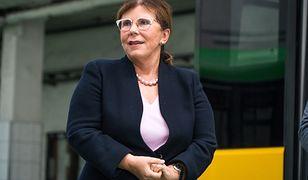 Solange Olszewska, prezes producenta autobusów  Solaris podczas prezentacji najnowszego produktu tej firmy.