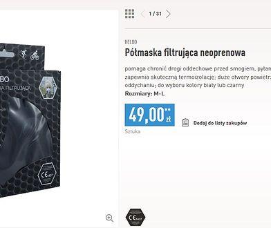 Sieć sprzedaje maski antysmogowe w dwóch rozmiarach