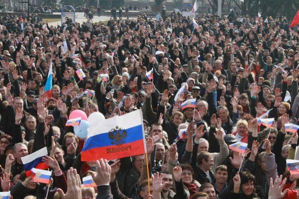 Demonstracja ws. przyłączenia Krymu do Rosji
