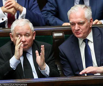 Wybory parlamentarne. Jarosław Gowin i Jarosław Kaczyński w Sejmie.