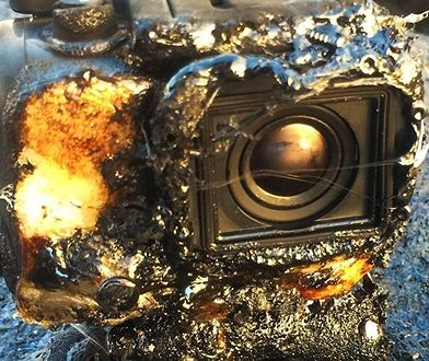 Kamera GoPro po wydobyciu z lawy