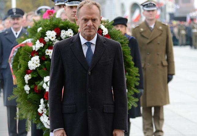 Donald Tusk podczas obchodów Święta Niepodległości w Warszawie