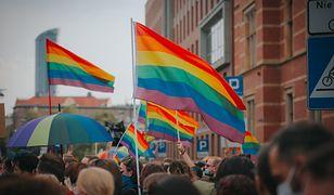 Tęczowe flagi podczas demonstracji