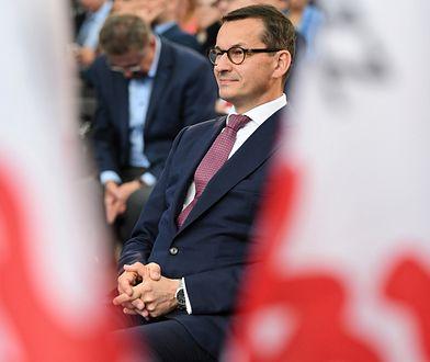 Premier Mateusz Morawiecki podczas ogłoszenia planów związanych z rewitalizacją terenów stoczniowych w Gdańsku