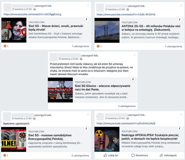 Filmy udostępnione przez jedną osobę na stronie protestu