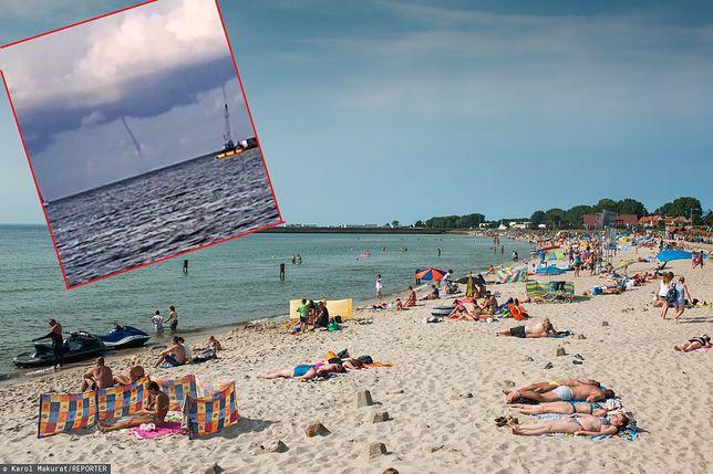 Trąba wodna nad Bałtykiem. Turyści uciekali z plaży na Helu