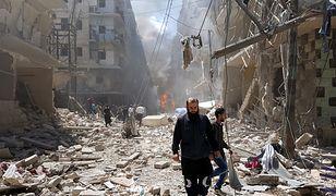 Zniszczone budynki we wschodnim Aleppo.