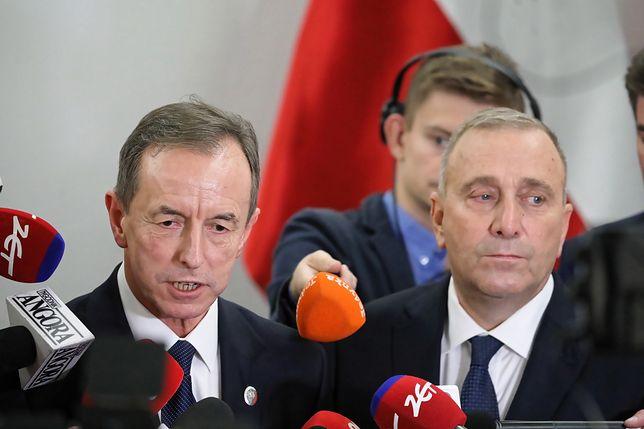Marszałek Senatu Tomasz Grodzki i przewodniczący PO Grzegorz Schetyna