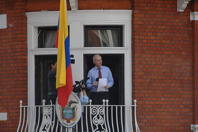 Julian Assange w oknie londyńskiej ambasady Ekwadoru (źródło: Wikimedia)