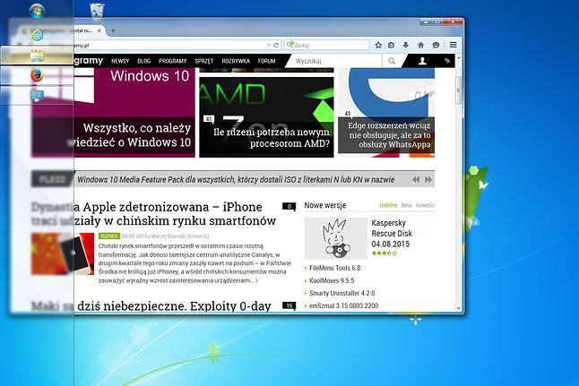 Rozmycie tła paska zadań w Windows 7