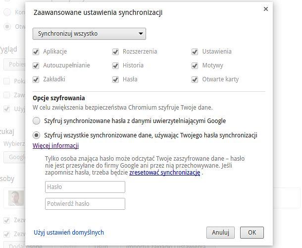 Domyślnie Google nie chce szyfrowania naszych danych