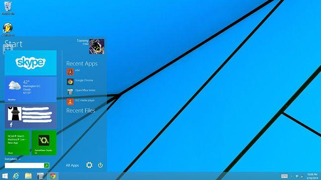 Przykładowa koncepcja Menu Start w Windows 9