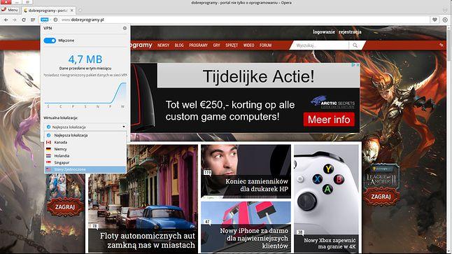 VPN Opery w akcji: łączymy się przez serwer w Holandii