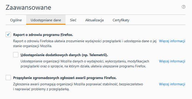W aktualnym stabilnym wydaniu Firefoksa, telemetria jest domyślnie wyłączona