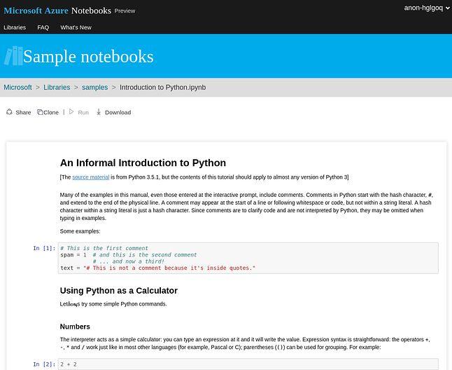 Interaktywne wprowadzenie do Pythona w Microsoft Azure Notebooks