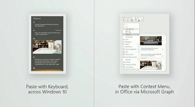 Po lewej stronie przegląd schowka po wciśnięciu skrót Ctrl+V, po prawej nowy panel schowka w Office.