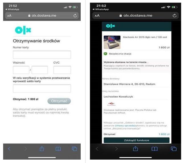 Przykładowe, fałszywe strony związane z płatnościami OLX, fot. mBank.