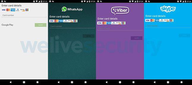 fałszywe okna pytające o kartę płatniczą, podszywające się pod popularne aplikacje