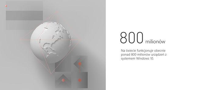 Windows 10 działa na ponad 800 mln urządzeń, źródło: Microsoft.