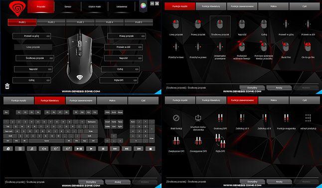 Profile i definiowanie przypisań dla przycisków w Genesis Krypton 800 Gaming Software