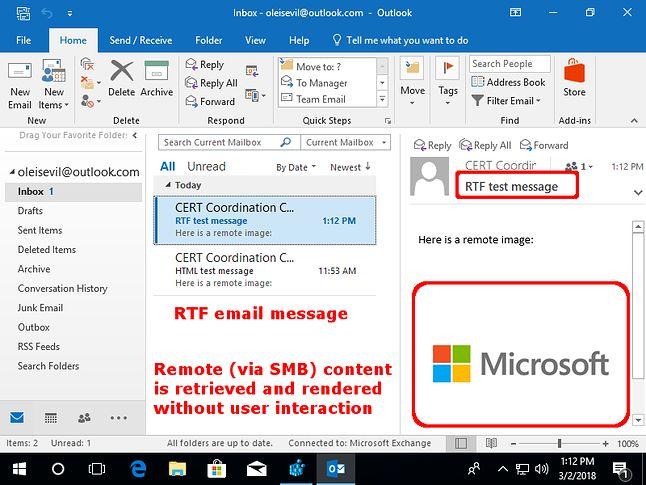 Outlook wyświetla wiadomość RTF z osadzonym obrazkiem (źródło: CERT CC)