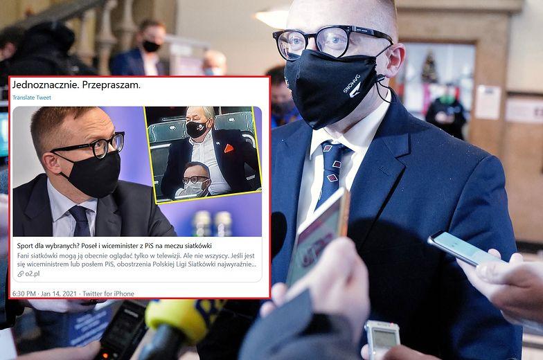Posłowie PiS na meczu siatkówki. Artur Soboń przeprasza